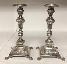 Pair Antique Silver Portuguese Candlesticks 1840s - 50s w/ Christie's Appraisal