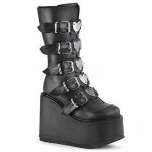 "Pleaser Demonia Swing-230/BVL Rock Gothic Boot 5.5"" Platform Heart Strap - Black"
