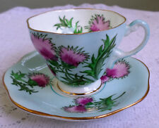 VINTAGE FOLEY GLENGARRY THISTLE BONE CHINA TEACUP & SAUCER~MADE IN ENGLAND