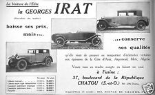 PUBLICITÉ 1927 GEORGES IRAT LA VOITURE DE L'ELITE - ADVERTISING