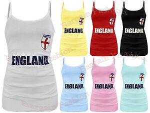 Womens England Print & St George Flag Sleeveless Side Gathered Vest Size S/M M/L