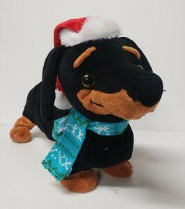 """GEMMY Animated, Dancing/Singing Dachshund Wiener Dog Plush 14"""" Christmas"""