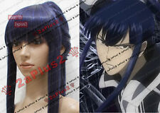 D.G MAN KANDA YU Black Blue wig cosplay with ponytail