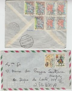 POSTUGESE ANGOLA 1961/6? 2x covers *SILVA PORTO-CAPE TOWN* & 1) ?? to LISBOA