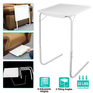 Portable Foldable Table Adjustable TV Tray Laptop Desk Sofa Bed Side Dinner Tray