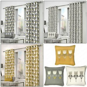HALDON Modern Floral Tulip Flower Lined Ready Made Eyelet Top Ring Top Curtains