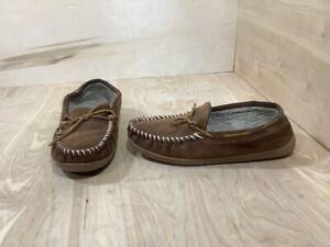 Minnetonka Men's Brown Leather Pile Lined Moc Toe Hard Sole Slippers Sz 11 41353
