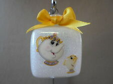 "Handmade Disney Beauty & The Beast Mrs Potts & Chip 2"" Glass Square Ornament~NEW"