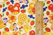 Custom 100% Cotton Woven Disney Mickey Mouse Waffles Fruit By the 1/4 Yard