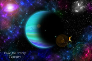 Galaxy Of Colorful Planets And Stars Tapestry - Large 150 x 130 cm