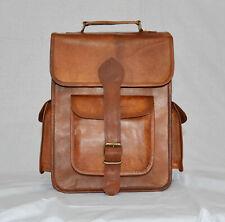 Handmade backpack leather bag Men briefcase vintage laptop genuine satchel brown