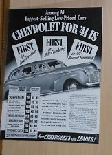 1941 magazine ad for Chevrolet - First in Acceleration, Hill-Climbing, Economy