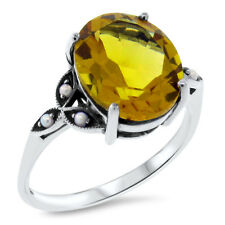 YELLOW LAB CITRINE VICTORIAN DESIGN .925 STERLING SILVER RING SIZE 5,      #383
