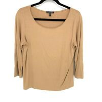 Eileen Fisher Size Small Peach Tan Solid Scoop Neck 3/4 Sleeve Basic T Shirt