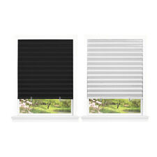 "Pleated Window Shades Room Darkening Vinyl Blinds - 75"" L White & Black"