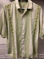 Tommy Bahama Relax Silk Shirt Men's Size XL Green Floral Hawaiian Button Down