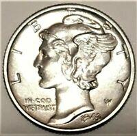 1943 P Mercury Dime Brilliant Uncirculated 90% Silver Coin Gem BU FB Full Bands