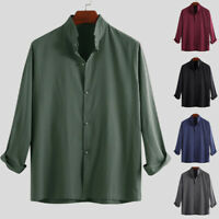 UK Mens Casual Shirt Linen Loose Baggy V Neck Chinese Style Long Sleeve Tee Tops