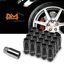 M12X1.25 Black JDM Open End Cone Wheel Lug Nuts+Spline Locks+Key 21mmx50mm 20Pc
