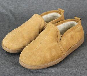 Minnetonka Mens 8 M Twin Gore Sheepskin Slippers Golden Tan Excellent Condition