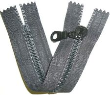 "ZIP DARK GREY, 6""/15CM CHUNKY TEETH PLASTIC, CLOSED END, FREE P&P"