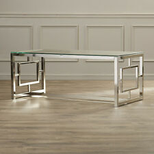 Console Table glass accent silver trim finish cocktail entertain Sofa Coffee