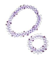 Purple Elastic Stretch Choker Necklace Bracelet Set Women Girls Dress Jewellery