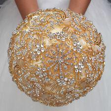 Luxury Bridal Wedding Bouquet Rhinestone Crystal Brooch Silk Rose Flower Gold