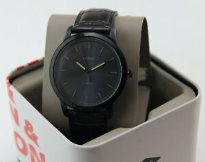 NEW AUTHENTIC FOSSIL THE MINIMALIST GRAY BROWN CROCO LEATHER MEN'S FS5573 WATCH