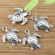 7pcs tibetan silver tone turtle charms EF1982