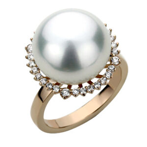 14K Rose Gold 0.35ct Diamond Halo Luster South Sea Cultured Pearl Ring 16.5mm
