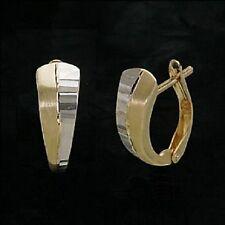 Echt 333 Gold Klappcreolen Kreolen Ohrringe bicolor Damen Gelbgold weißgold paar