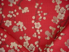 16Y VALDESE BEAUTIFUL CHERRY BLOSSOM RED FLORAL CHENILLE UPHOLSTERY FABRIC