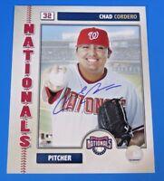 CHAD CORDERO SIGNED 8x10 PHOTO ~ WASHINGTON NATIONALS ~ BASEBALL AUTOGRAPH