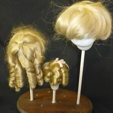 3 MIXED WIGS FOR ANTIQUE DOLL, DOLLMAKING, WIG BUNDLE, VINTAGE WIGS