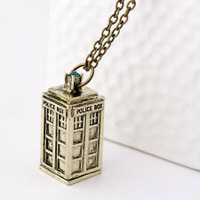 Doctor Who 3D Necklace TARDIS Police Box Pewter Chain Tall Antique Pendants Gift