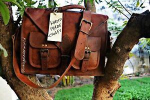 Bag Leather Briefcase Men Messenger Laptop S Shoulder Genuine Satchel Vintage