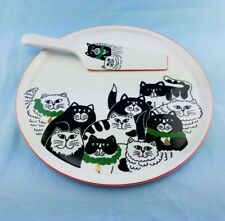 VINTAGE CHRISTMAS CATS CAKE PLATE & MATCHING SERVING KNIFE