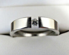 8mm Stainless Steel W// Black Carbon Fiber Inlay .04ctw Diamond Accent Ring