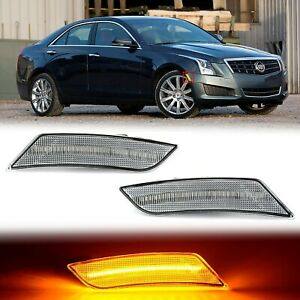 Amber LED Clear Side Marker Reflector Lens Pair For 13-14 Cadillac ATS 17-19 XT5