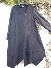 "PATCHWORK COAT DIAGONAL ZIP  BOILED WOOL JET BLACK 48"" 50"""" BUST BNWT LAGENLOOK"