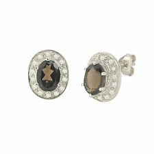 Smoky Quartz Gemstone Stud Earrings Sterling Silver Oval Micropave CZ Accent