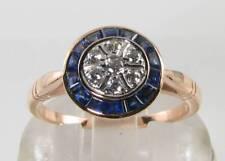 LUSH 9K 9CT ROSE GOLD Sri Lankan BLUE SAPPHIRE DIAMOND ART DECO INS CIRCLE RING