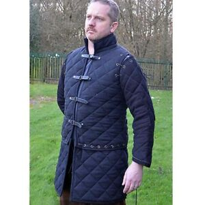Thick Blue Color Gambeson Medieval Padded Full Sleeves Armor CHU_052