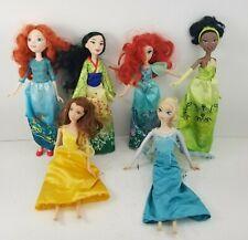 "Lot of 6 Disney 12"" Dolls, Elsa, Tiana, Pocahontas, Merida, Belle, Ariel"