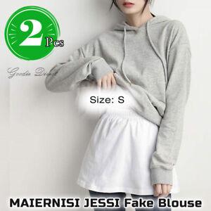 2x JESSI Fake Blouse Hem Detachable False T Shirt Tail Underskirt Waist Skirt -S