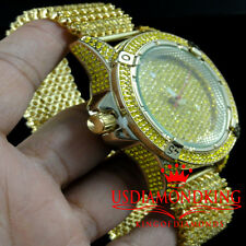Men's ICEMASTER 8 Row Icy Band Yellow Gold Finish Diamond Simulate Watch Canary