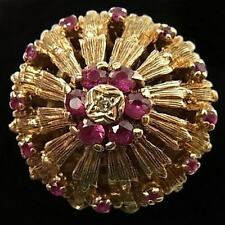 STUNNING, HUGE, VINTAGE 9CT GOLD, RUBY AND DIAMOND CLUSTER RING, 8.5 Grammes