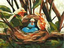 BIRD NEST SURPRISE PAINTING PAINT BY NUMBERS CANVAS KIT 12 x 16 ins FRAMELESS