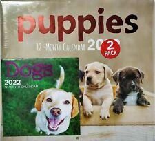 Puppies 12 Month 2022 Wall Calendar 11X12 Dogs Mini Bonus Nwt